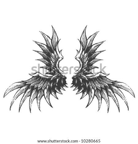 Demonic Twin Wings - stock vector