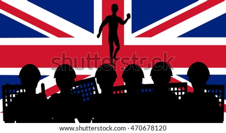 Demonstration and police on the flag of the United Kingdom background