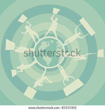 Demonstrations around the world vector background - stock vector