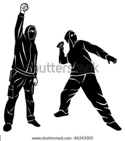 demonstrator (hooligan, fan, protest man) - stock vector