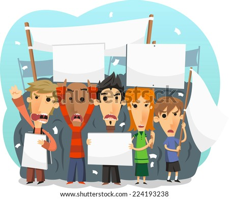 Demostrators taking part in a public protest march illustration - stock vector