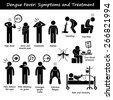 Dengue Fever Symptoms and Treatment Aedes Mosquito Stick Figure Pictogram Icons - stock vector