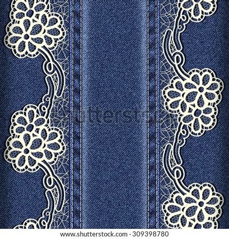 Denim and lace. Background with lace ribbons sewn vertically. Vector illustration - stock vector