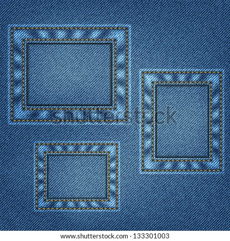 Denim background in vector EPS 10. Your photo here.