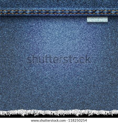 Denim background. Vector realistic texture - stock vector
