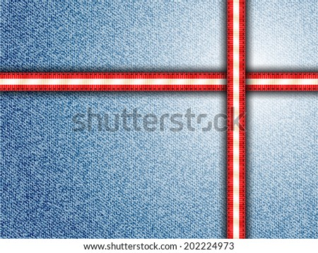Denim Background Vector with red and white Striped Seams