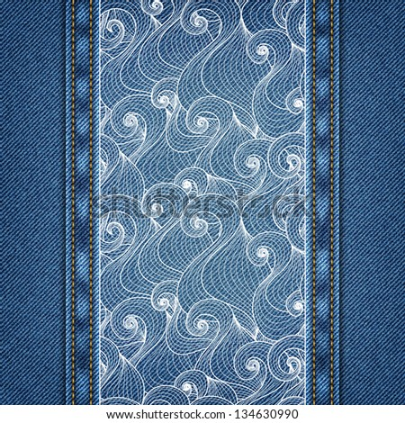 Denim background with abstract hand-drawn pattern in vector EPS 10.
