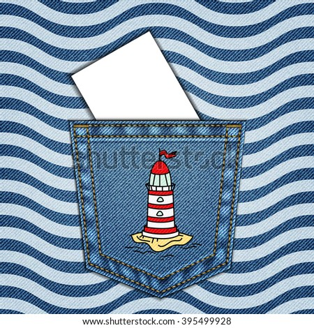 Denim background with Jeans pocket and sea pattern - stock vector