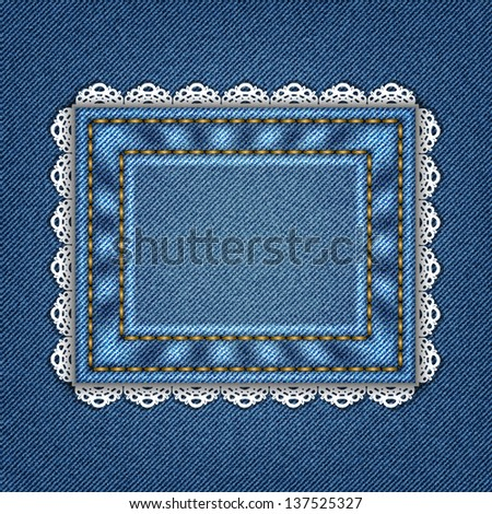 Denim background with lace in vector EPS 10.