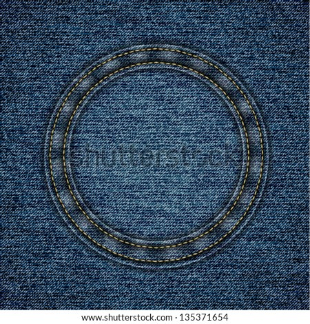 Denim background with round stitched copyspace - eps10 - stock vector