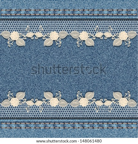 Denim background with white floral lace. Vector illustration - stock vector