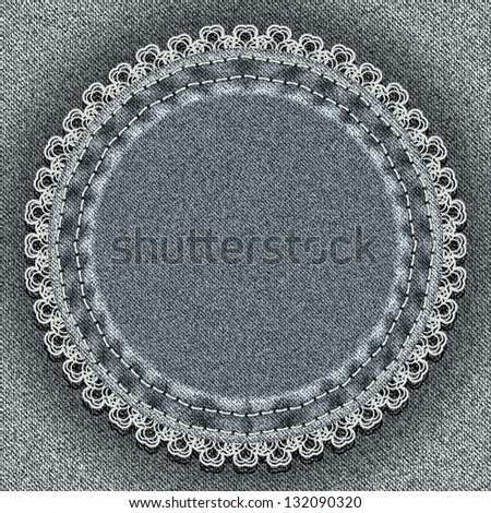Denim circle with lace. Vector illustration - stock vector