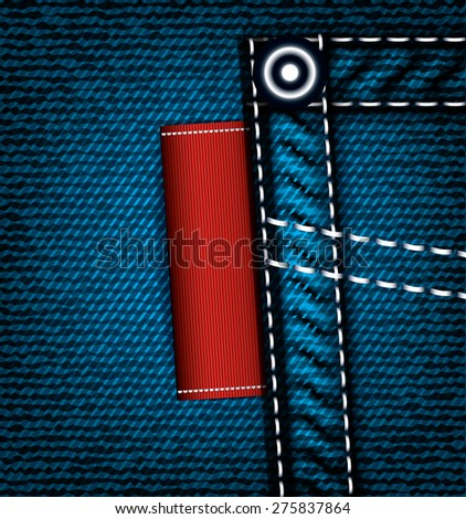 Denim jeans pocket with label, vector part of clothes - stock vector