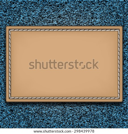 Denim jeans texture with blank leather label. Vector illustration