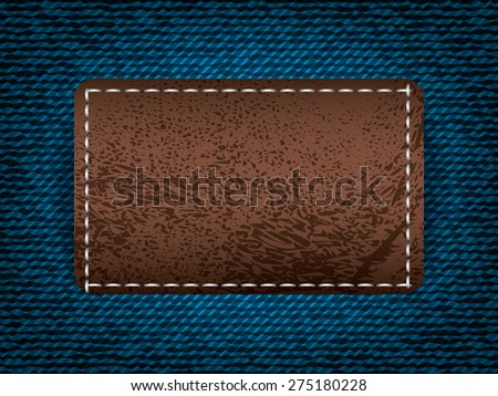 Denim jeans with leather label, vector part of clothes - stock vector