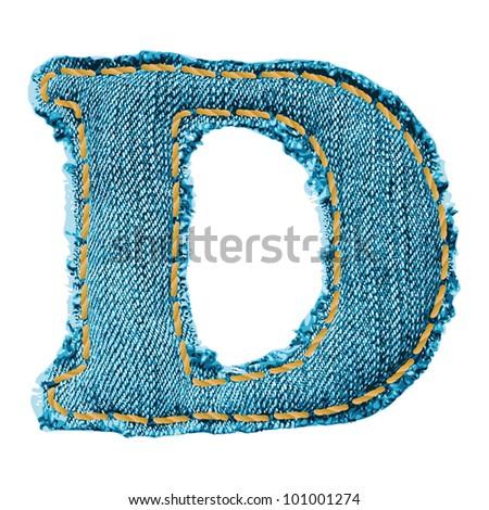 Denim letter. Jeans alphabet D - stock vector