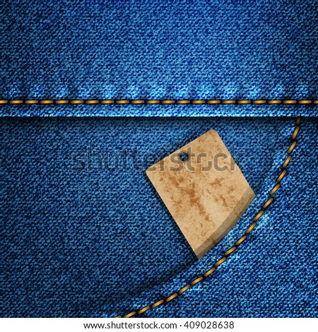 Denim pocket with a leather label.