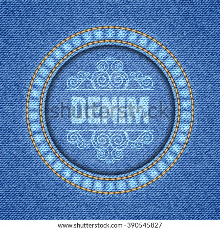 Denim texture background. Realistic denim fabric. Vector illustration