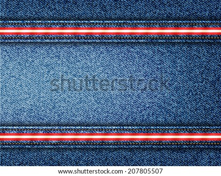 Denim Vector Background with Striped Seams
