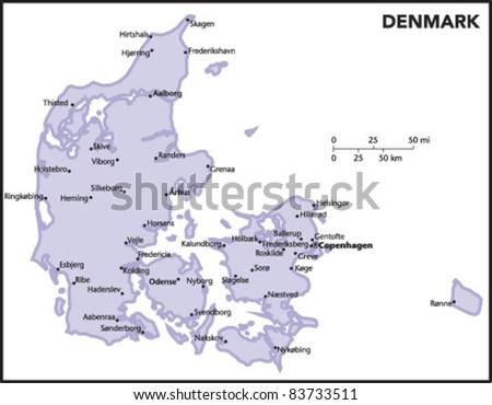 Denmark Country Map - stock vector
