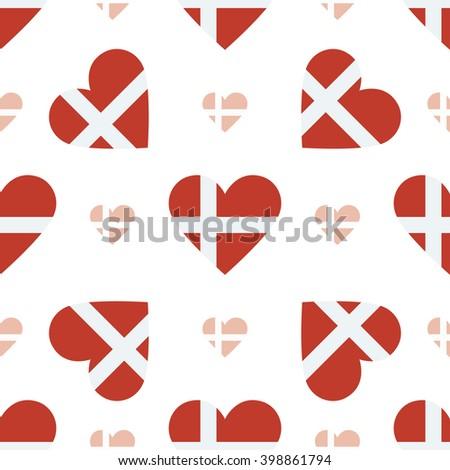 Denmark flag heart seamless pattern. Patriotic Denmark flag background. Country flag in the shape of heart. Vector seamless pattern. - stock vector