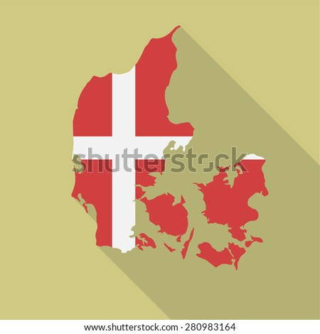 Denmark flag,map flat icon with long shadow. Vector EPS10 - stock vector