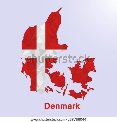 Denmark flag map in geometric polygonal style.Abstract tessellation,background. Vector illustration EPS10 - stock vector