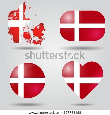 Denmark flag set in map, oval, circular and heart shape. - stock vector