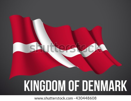 Denmark flag vector waving in the wind illustration isolated on a dark background. Modern banner to the day of independence country. Holiday card with standard Spirit of the union National Day. - stock vector