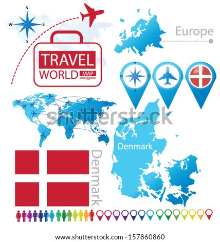 Denmark. flag. World Map. Travel vector Illustration. - stock vector