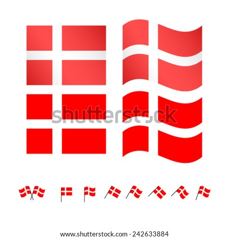 Denmark Flags EPS 10 - stock vector