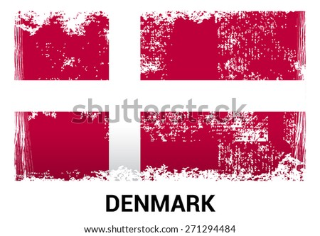 Denmark grunge flag isolated vector in official colors and Proportion Correctly. country's name label in bottom - stock vector