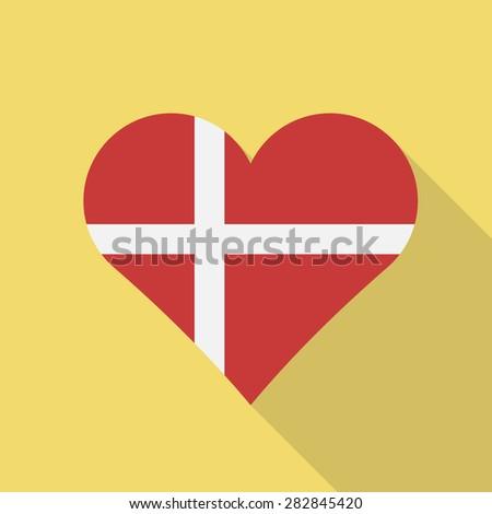 Denmark heart flag flat style with long shadow. Patriotic design. Vector EPS10 - stock vector