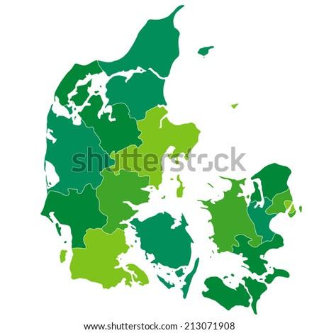 Denmark map green - stock vector