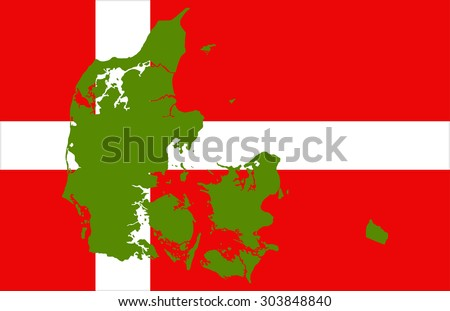 Denmark map on a flag background - stock vector