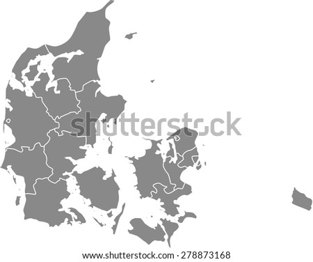 Denmark map outlines, vector map of Denmark with boundaries/  borders of counties or states or provinces in grey color background - stock vector