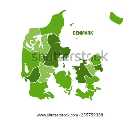 Denmark map with regions - stock vector