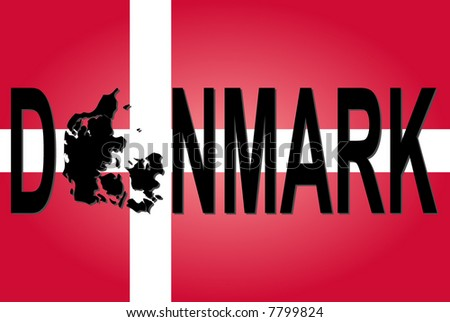Denmark text with map on flag illustration