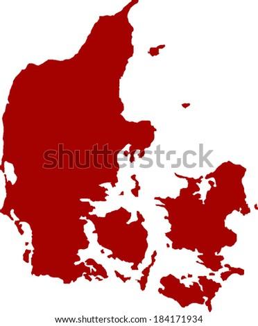 Denmark Vector Map - stock vector