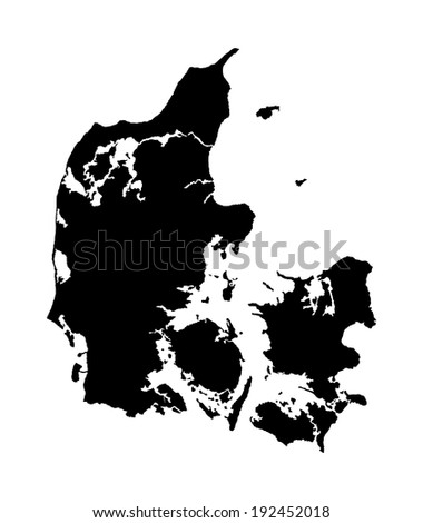 Denmark vector map isolated on white background. High detailed silhouette illustration. - stock vector