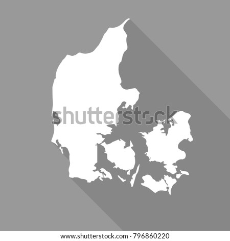 Denmark white map,border flat simple style with long shadow on gray background