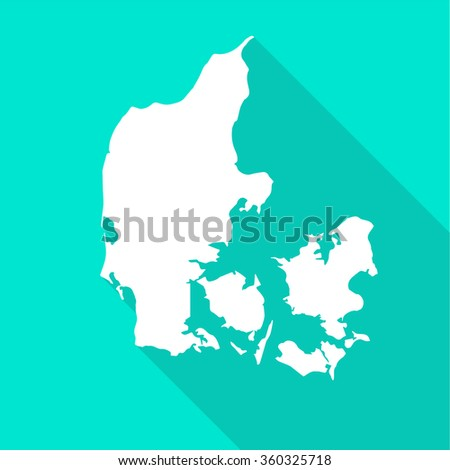 Denmark white map,border flat simple style with long shadow on turquoise background - stock vector