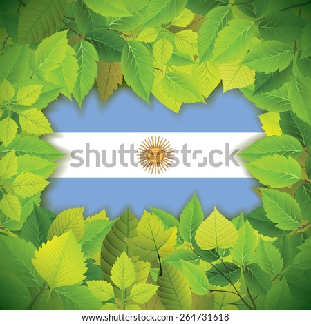 Dense, green leaves over the flag of Argentina - stock vector