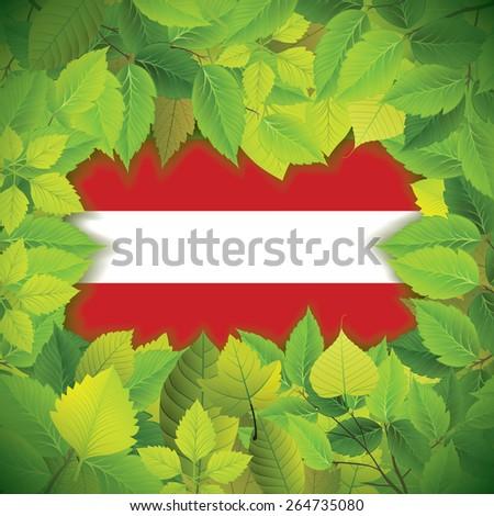 Dense, green leaves over the flag of Austria - stock vector