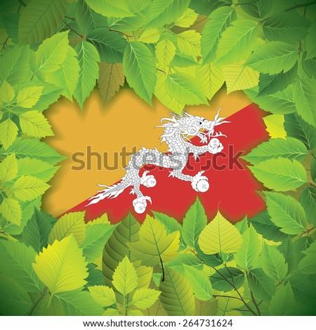 Dense, green leaves over the flag of Bhutan - stock vector