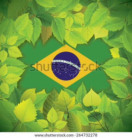 Dense, green leaves over the flag of Brazil