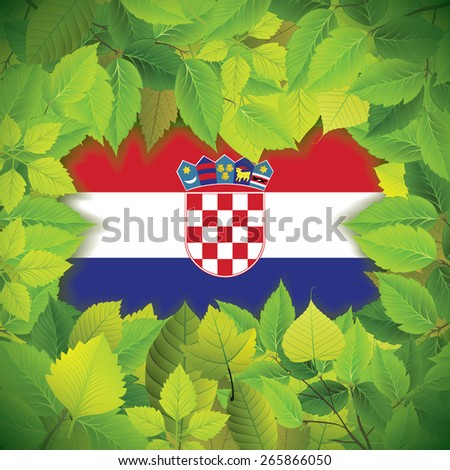 Dense, green leaves over the flag of Croatia - stock vector