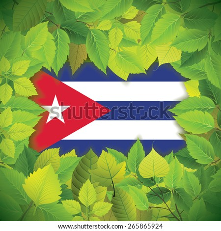 Dense, green leaves over the flag of Cuba