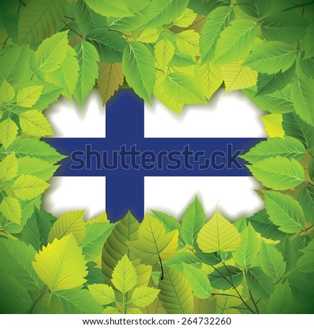 Dense, green leaves over the flag of Finland