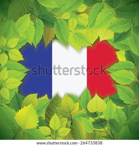 Dense, green leaves over the flag of France - stock vector